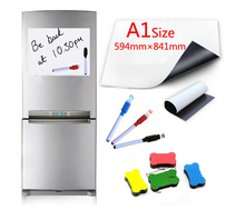 Magnetic Whiteboard A1 Size 594x841mm Fridge Magnets Dry Wipe White Board Writing Record Marker Pen Eraser
