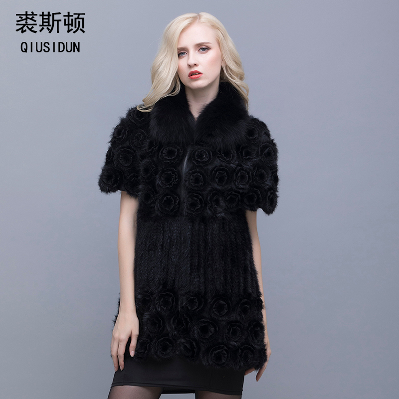 QIUSIDUN Mink Knitted Coat  True Fox Collar Fur Coat Women Winter Warm Knitted Garment Fashion large size 6XL  Real Fur Coat
