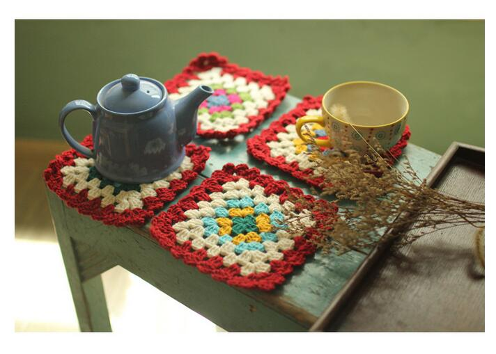 New Handmade Crochet Placemats Small Talble Cloth Coasters Insulation Pad  Mats Tablecloth 4 Pieces One Set