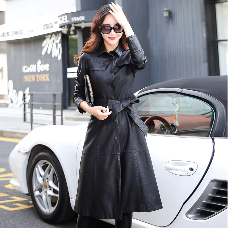 Image 3 - 5xl especially female leather autumn long faux jackets coat  single breast turn down collar large swing women leather trench  coatwomens leather trench coatleather trench coatwomens leather  trench