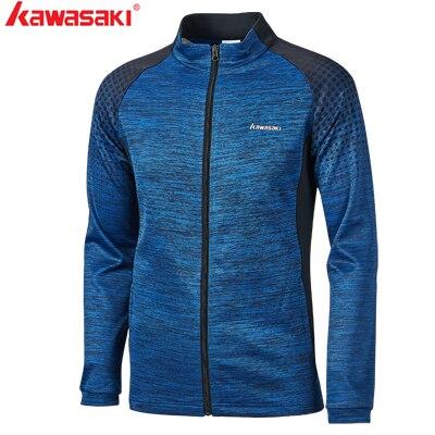 Kawasaki новые осенние мужские спортивные куртки дышащие Комфортные куртки для фитнеса бадминтона теннисные Куртки Пара моделей с молнией JK-S1803 - Цвет: JK-S1803Blue