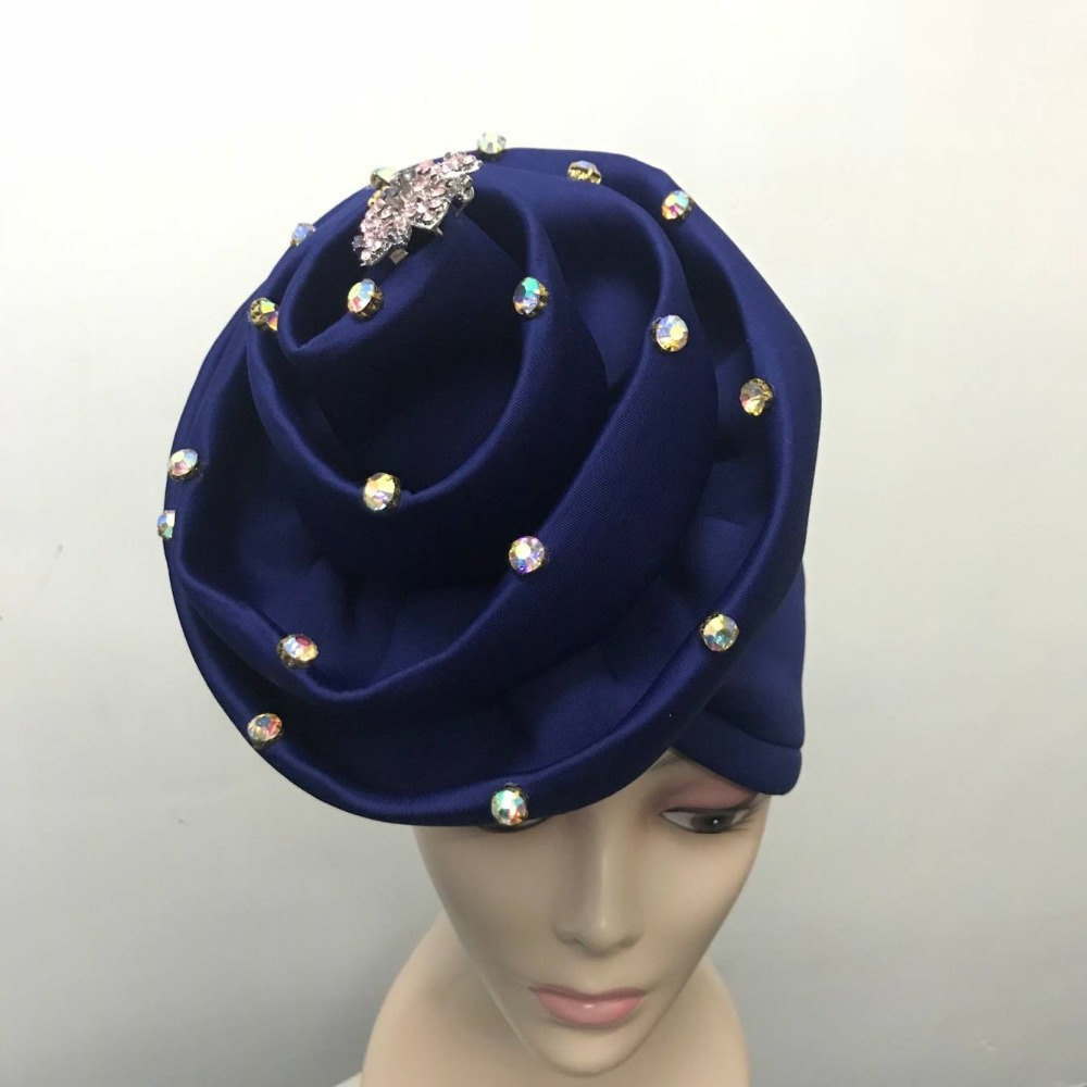 a6bad6f1cd3 5pieces lot Pearls Beaded Blue Turban Women Hair Cap Muslim Turbante Party  Hijab Headwear Hair Accessories with Brooch LP30-in Fabric from Home    Garden on ...