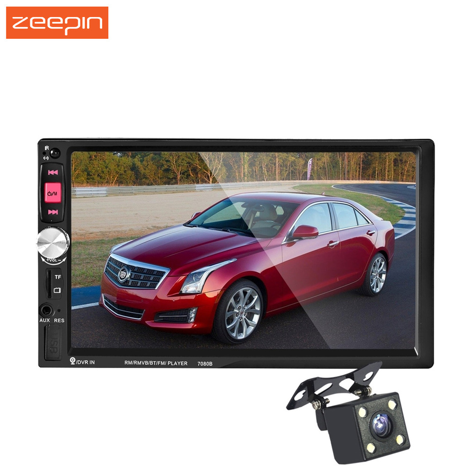 7080B 2 Din 7 Inch Touch Screen In Dash Auto Car Radio Bluetooth USB SD ,MP3 MP4 Video Music Player With Camera Rear View Camera цена