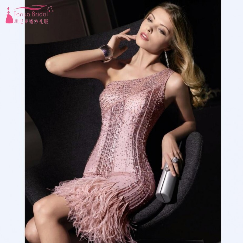 2019 High Quality One Shoulder Party   dresses   full hand-sewing beaded   cocktail   short crystal feather   dresses     Cocktail     Dress   SS175
