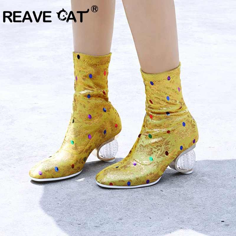 REAVE KEDI Tasarlanmış Çorap Kadın Orta Buzağı Çizmeler Ilkbahar Sonbahar temizle yuvarlak Yüksek Topuklu Parti kısa patik bayan ayakkabı Boyutu 44