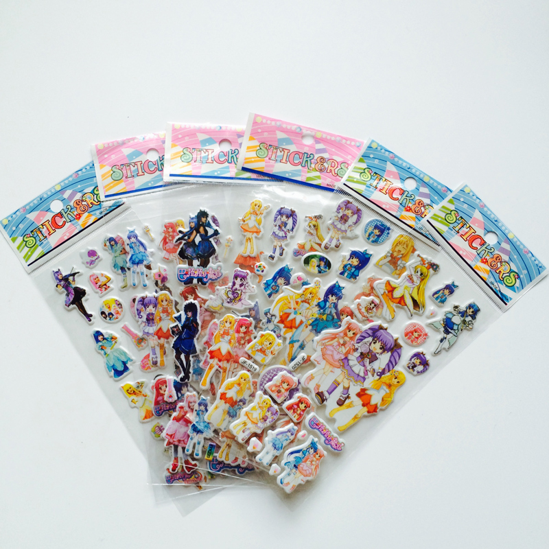 6Pcs/lot Bubble Stickers 3D Cartoon Magic Fairy  Classic Toys Scrapbook For Kids Children Gift