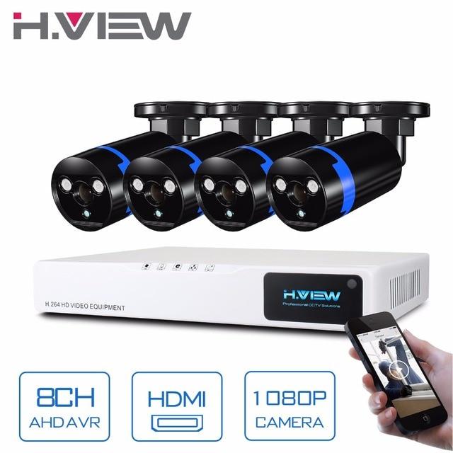 H.View Security Camera System 8ch CCTV System 4 x 1080P CCTV Camera 2.0MP Camera Surveillance System Kit Camaras Seguridad Home