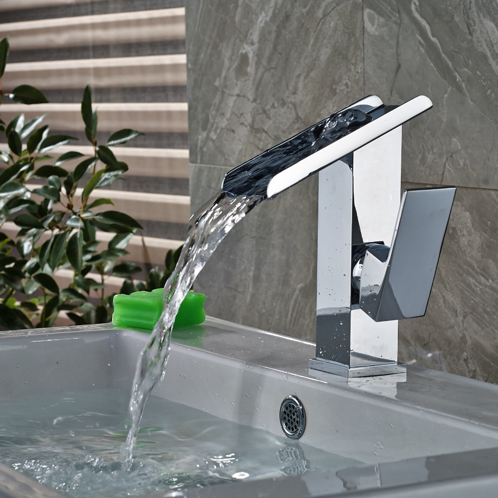 ФОТО Single Handle Modern Square Vanity Sink Mixer Tap Waterfall Spout Mixer Tap