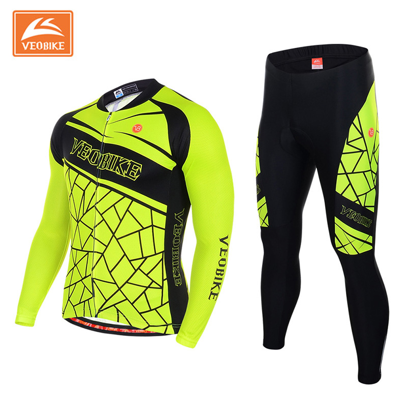 VEOBIKE Fluorescence Cycling Jersey Set Men Autumn Outdoor Sport MTB Bike Bicycle Quick Dry Long Sleeve Clothes ropa de ciclismo dichski outdoor bike coat quick dry mtb riding pants mountain 2017 long sleeve cycling sets suit male autumn winter jersey h233
