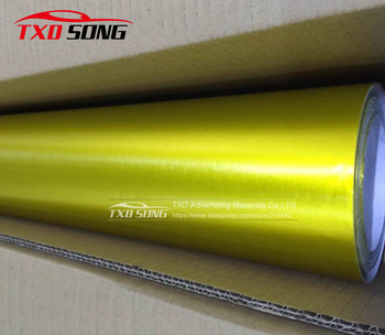 Free shipping Gold metallic chrome brushed vinyl for car body decoration with air bubbles size:1.52*20M/Roll