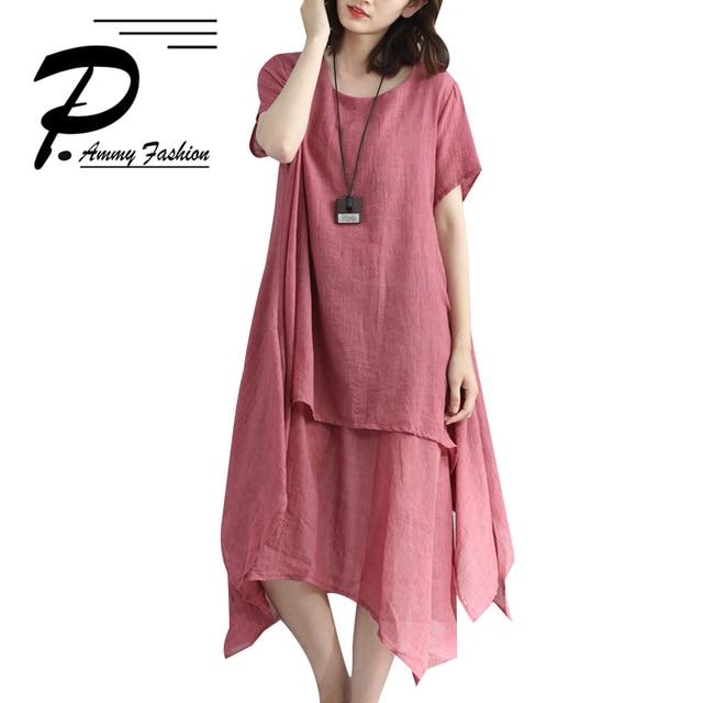 3f7c8013e597 2018 Lagenlook Cotton   Linen Elegant Solid Color Long Linen Dress Womens Summer  casual dress Plus