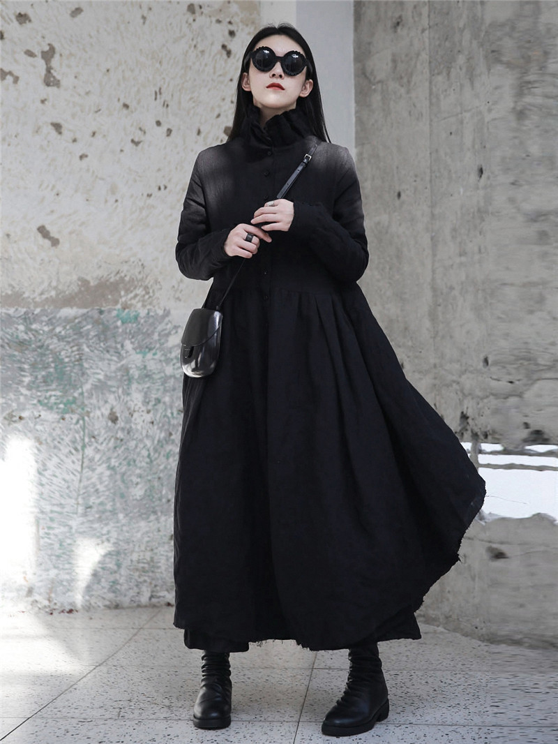 Cakucool New Women Stand Collar Dress Autumn Linen Gothic Ball Gown Vestido  X Long Japanese Designer Long Sleeve Black Dresses-in Dresses from Women s  ... 898e4626c0b6