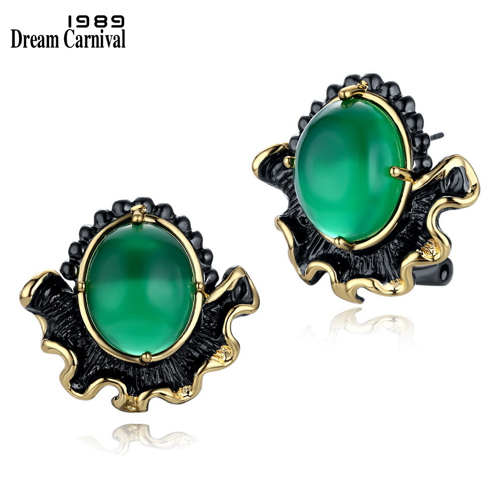 DreamCarnival 1989 Green Main Bead Stud Earrings for Women Black Gold Color Vintage Gothic Flower Jewel Pendientes Mujer Moda