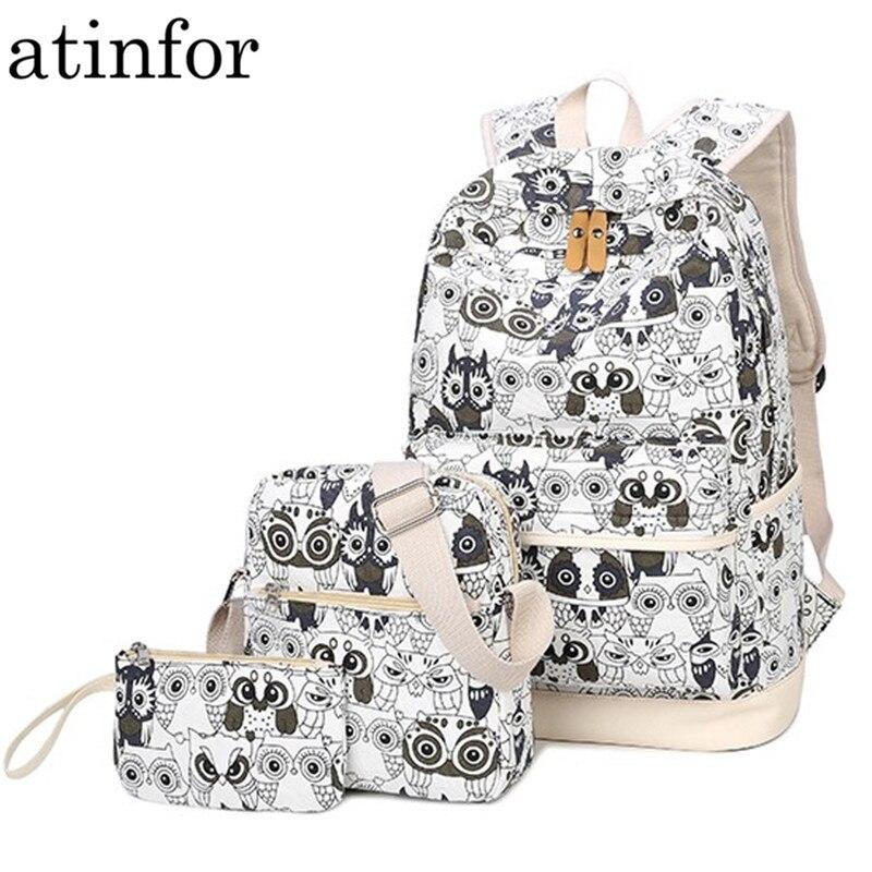 Set Backpack Bookbags School Teenage Animal Women Canvas For Girls Owl-Printing