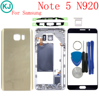 5.7'' Full Housing For Samsung Galaxy Note 5 N920 N920F Back Battery Cover + Front Screen Glass Lens + Middle Frame Complete
