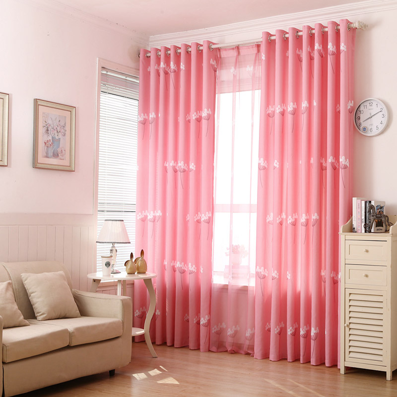 Pink floral curtain plant shade cloth curtains for living room ...