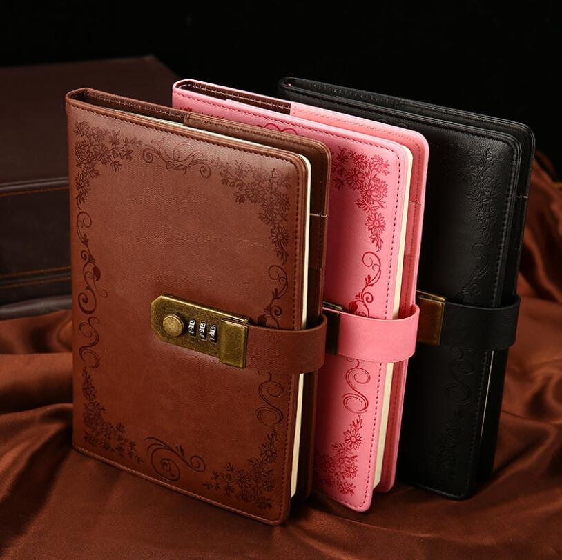 Vintage Lockable A5 Notebook Paper PU Leather Note Book Diary With Lock Traveler Journal Weekly Planner School Stationery Gift creative a6 diary with lock pu leather flower notebook school supplies lockable password writing pads notebook girl women gift