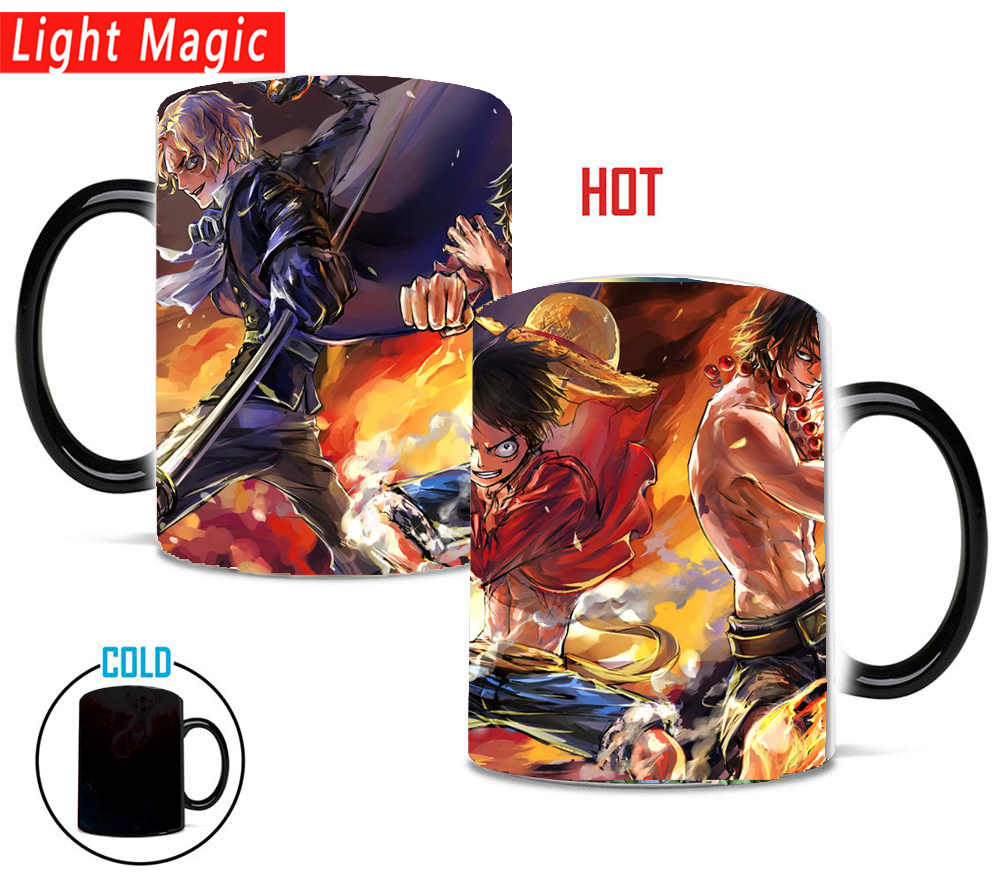 One Piece mugs luffy sabo <font><b>ace</b></font> mug hot cold Heat reveal travel magic color changing mugs <font><b>cup</b></font> best gift for your friends