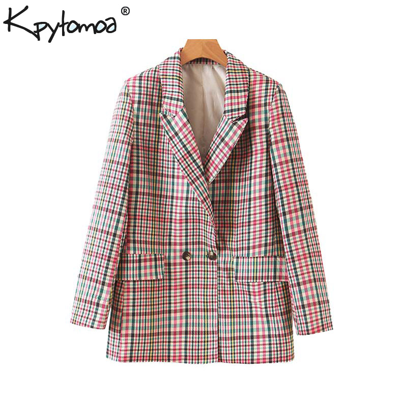 Vintage Stylish Double Breasted Plaid Blazers Coat Women 2019 Fashion Long Sleeve Office Lady Outerwear Casual Chaqueta Mujer