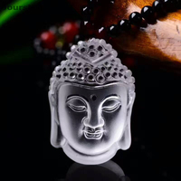 Fine Carved White Natural Crystal Pendants Guanyin Head Buddha Pendants Necklace Blessing Lucky for Men Women Fashion Jewelry