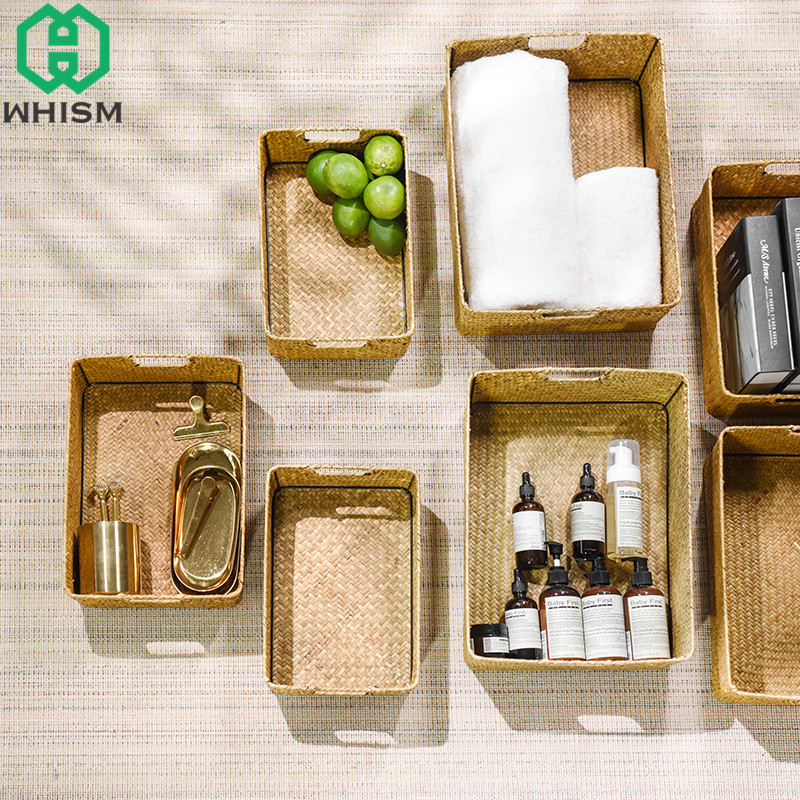 WHISM Handmade Laundry Basket Desktop Storage Box Seagrass Storage Baskets Clothing Holder Straw Toys Container Makeup Organizer