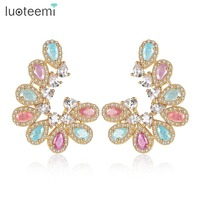 LUOTEEMI Luxury Ear Accessories Multi Ice Zirconia Formed Brilliant Flower U Shape Stud Earrings For Women