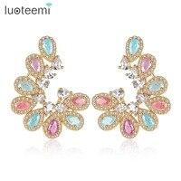 LUOTEEMI Luxury Ear Accessories Multi Ice Zirconia Formed Brilliant Flower U Shape Stud Earrings For Women