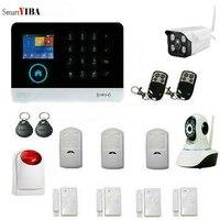 Smartyiba WI FI gsm Беспроводной дома Охранной Сигнализации Системы RFID Клавиатура PIR IP Камера Язык переключаемый