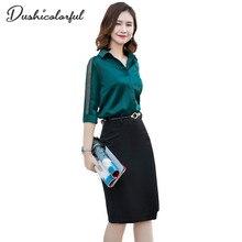 Women V-neck spliced Hollow  Blouse & A-line Knee-Length High Waist Skirt summer Higt Quality Office lady shirt 2 Pieces Set