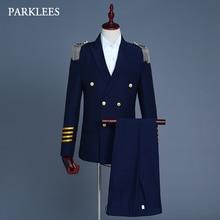 Europa Military Uniform Anzüge Männer Quaste Epaulet Herren 2 Stück Anzug Navy Blau Party Prom Sänger Jacken Homme Terno Masculino 2XL
