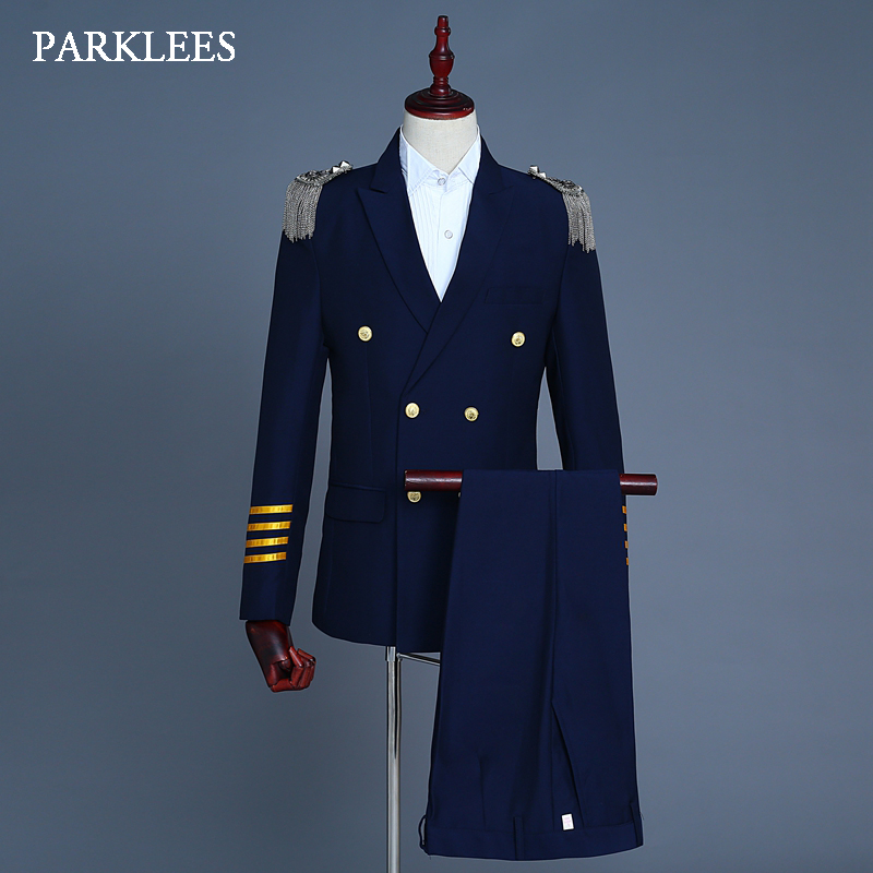 Europe Military Uniform Suits Men Tassel Epaulet Mens 2 Piece Suit Navy Blue Party Prom Singer Jackets Homme Terno Masculino 2XL