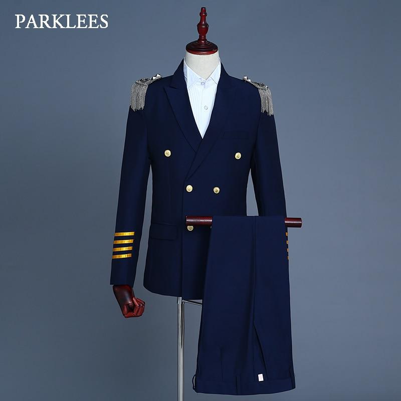 Europe Military Uniform Suits Men Tassel Epaulet Mens 2 Piece Suit Navy Blue Party Prom Singer Jackets Homme Terno Masculino 2XL