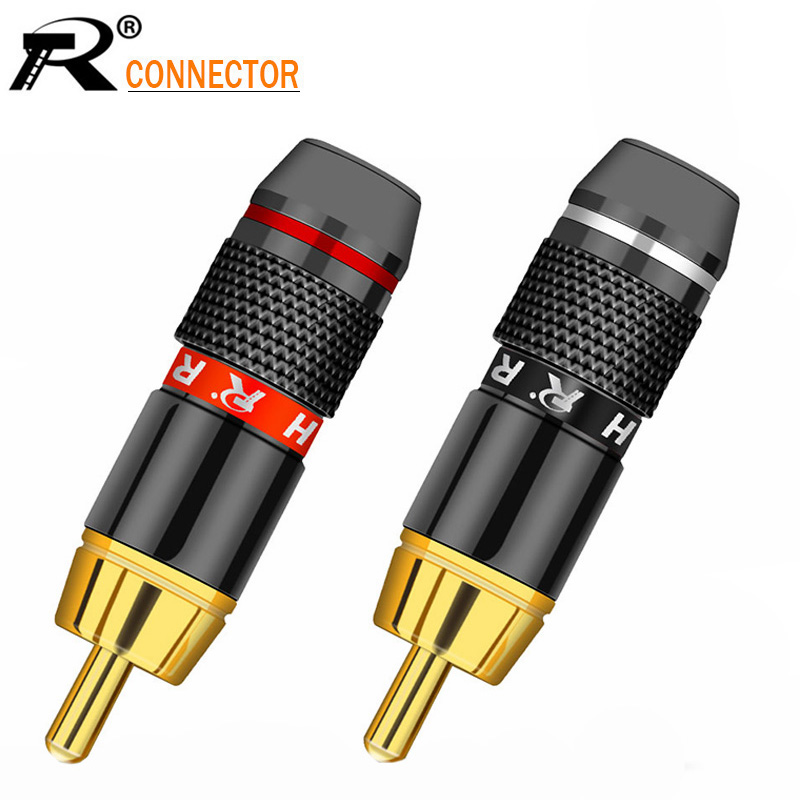 12pcs/lot RCA Plug Male Connector High Quality Gold Plated Soldering Plug Speaker Cable Wire Connector 6 Pairs Red+Black