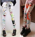 2016 Sexy Printed Floral Leggings Female Colorful Mid Waist High Elastic plant Hot Selling