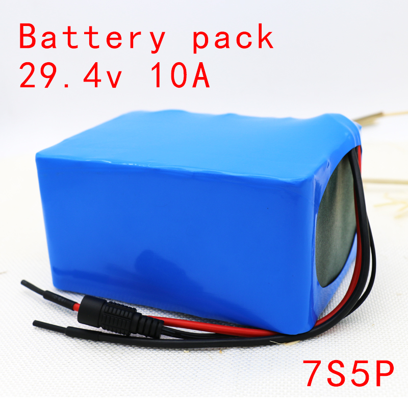 18650 7s5p 24V 29.4V 10Ah lithium battery pack electric bicycle Li-ion batteries + protection board light weight ebike 7 4v 4000mah rechargeable 18650 li ion battery pack for bike bicycle light blue