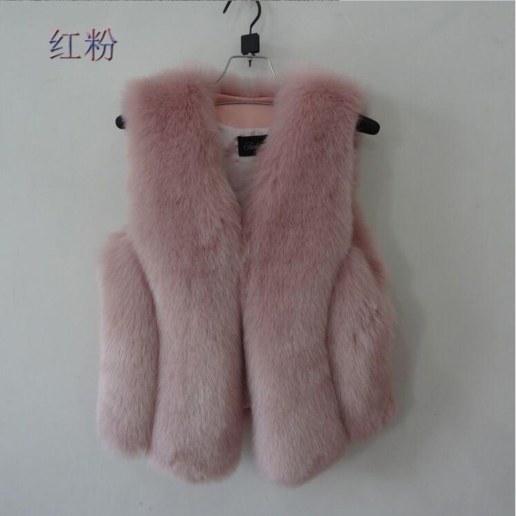 Новинка, зимние толстые теплые меховые жилеты, пальто для женщин, искусственный Лисий мех, жилет, короткие пальто, высокое качество, жилет, Женская куртка, верхняя одежда - Цвет: pink