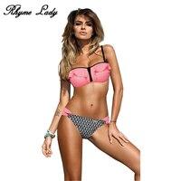 Rhyme Lady Sexy Bikini Set Swimwear Women Push Up Ruffle Swimsuit Female Strap Bikini Bathing Suit