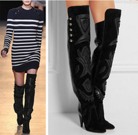 Woman Luxury Becky Embroidery Over Knee Thigh High Boots Genuine Leather Spike Heel Woman Boots