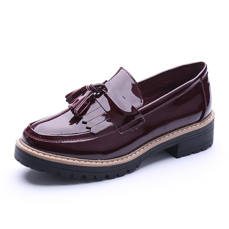 Fashion 2016 Spring Womens Oxfords Shoes Slip On Faux Leather Oxfords For Women Tassel Casual