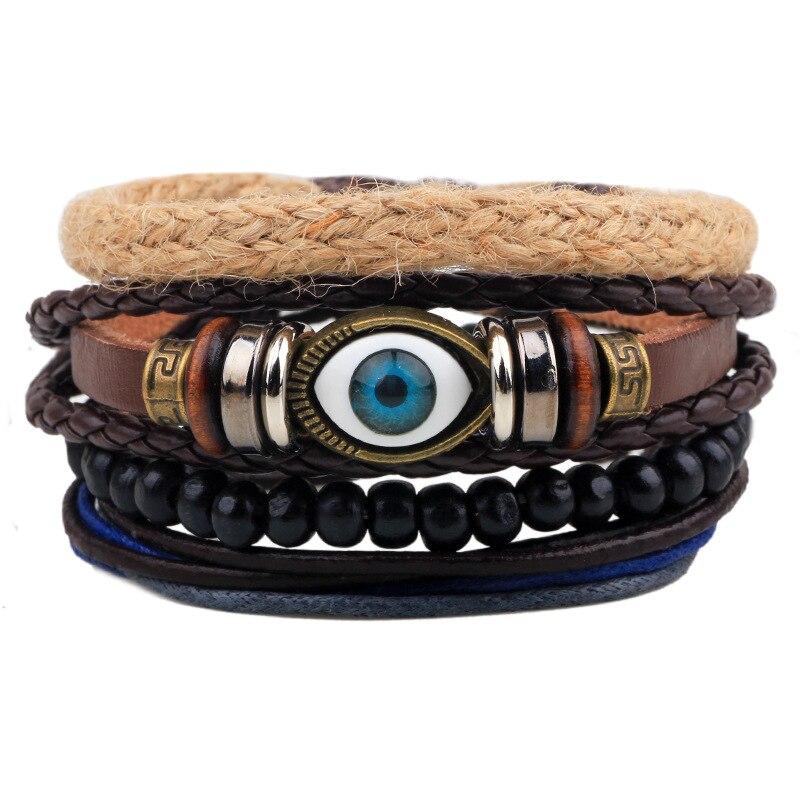 Er Vintage Greek Eye Bracelet Blue Turkish Evil Amulet Man Punk Rock Band Leather Male Antique Ethnic Jewelry Lb142