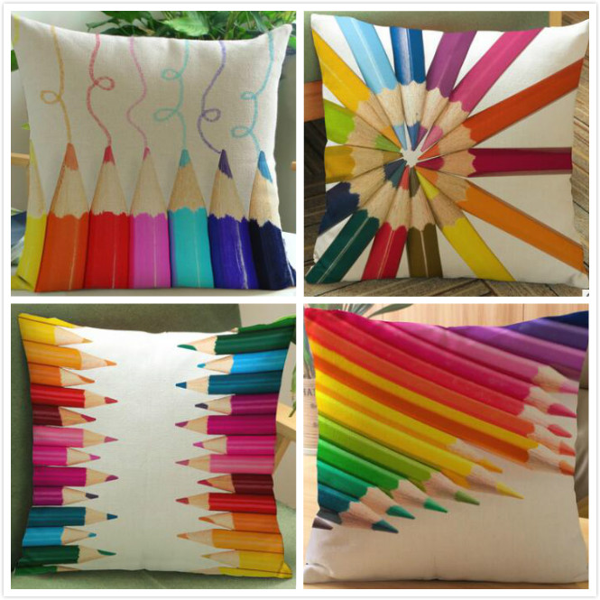 Creative colorful pencil child printed linen cushion Cushion cover sofa bed car Dec printed brief covers FG099