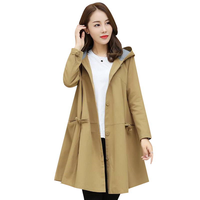 Spring Autumn   Trench   Coat Women Casual Single Breasted Coats 2019 New Casual Hooded Meidum Long Overcoat Female Windbreaker