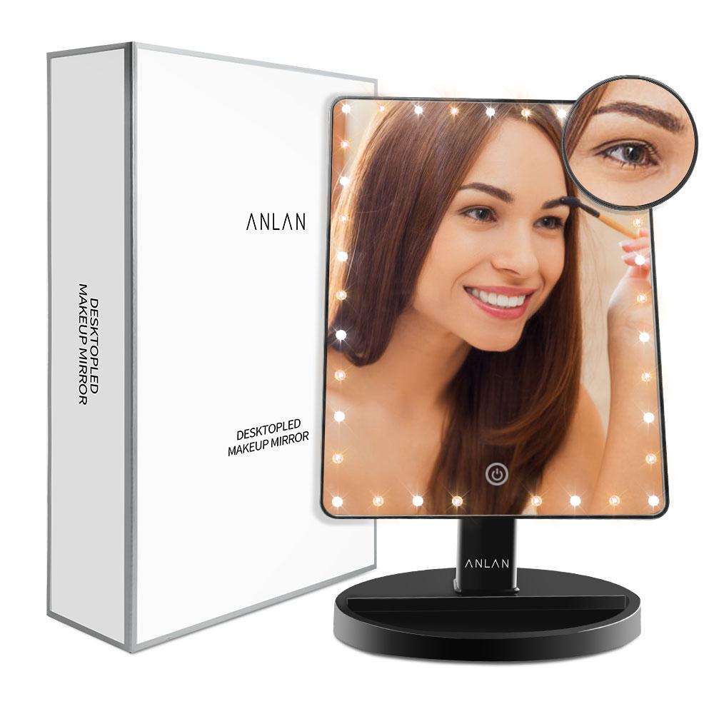 ANLAN Super Grande Tela Sensível Ao Toque de LED Espelho de Maquiagem Espelho Com 35 Luzes LED/Barra de Luz de 360 Graus Ajustável Mesa espelho de Maquilhagem
