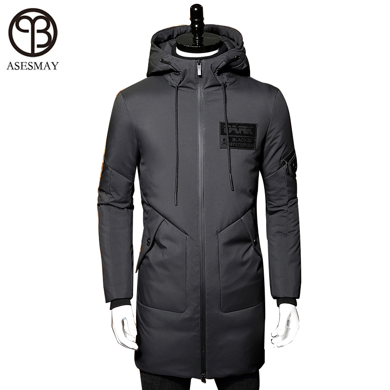 Asesmay 2017 зимняя куртка-пуховик Для мужчин пальто с капюшоном длинные белые парка-пуховик с утиным пухом утолщение теплая верхняя одежда wellensteyn Для мужчин зимняя куртка