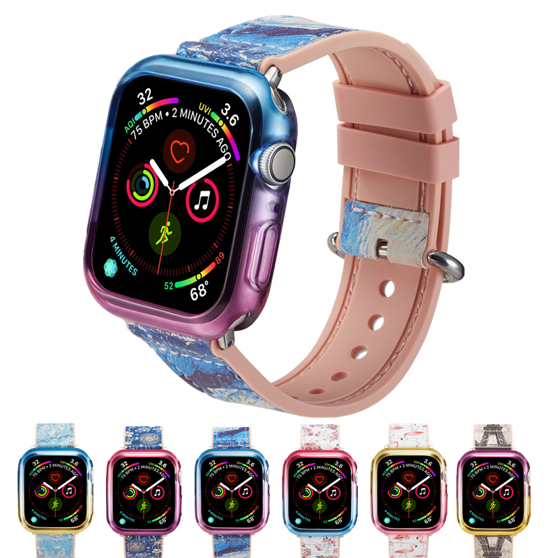 Paint color Silicone Strap for Apple watch Band Series 4 44mm 40mm Bands with Colorful TPU Case shell Wrist Bracelet for iWatch цвета apple watch 4