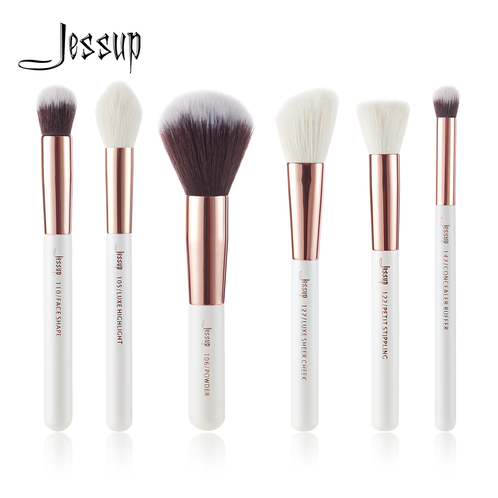 Jessup Pearl White / Rose Gold Professional Makeup Brushes Set Beauty Tools Make up Brush Buffer Paint Cheek Highlight Powder jessup brushes black rose gold professional makeup brushes set make up brush tools kit foundation powder buffer cheek shader