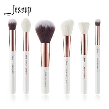 Jessup Pearl White / Rose Gold Professional Makeup Brushes Set Beauty Tools Make up Brush Buffer Paint Cheek Highlight Powder - DISCOUNT ITEM  15% OFF All Category