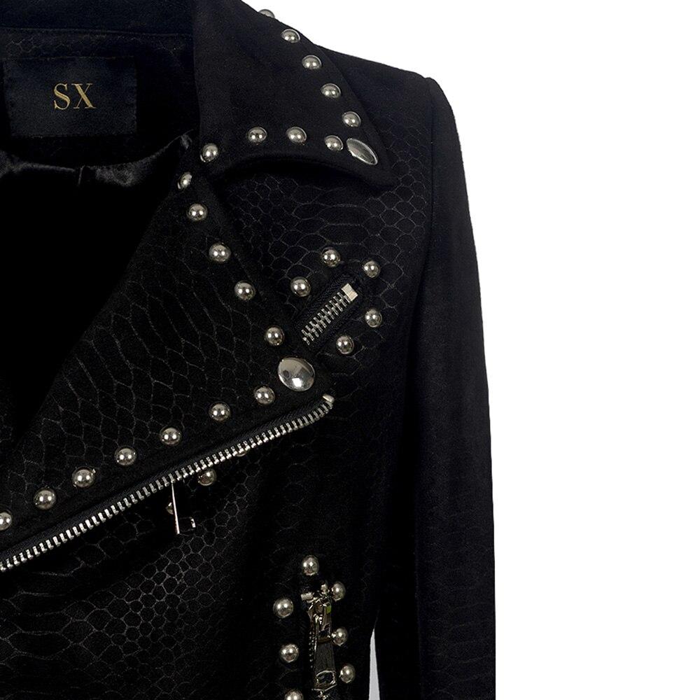Ceinture 2018 Noir Rivet Femmes Veste Mode Cuir Moto Hiver Pu Gothique Faux Automne Manteau De Survêtement rUra1wAq