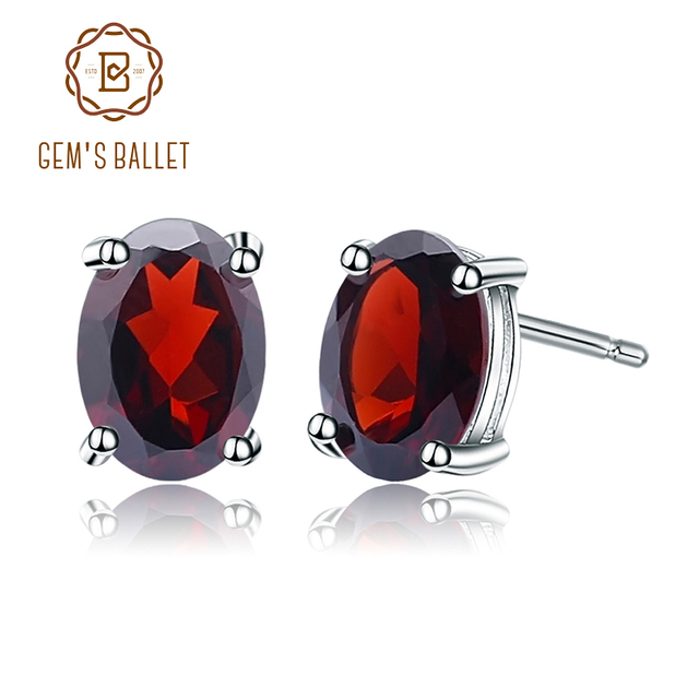 Gem's Ballet 5*7mm 2.00Ct Oval Natural Red Garnet Gemstone Stud Earrings Genuine 925 Sterling Silver Fashion Jewelry for Women