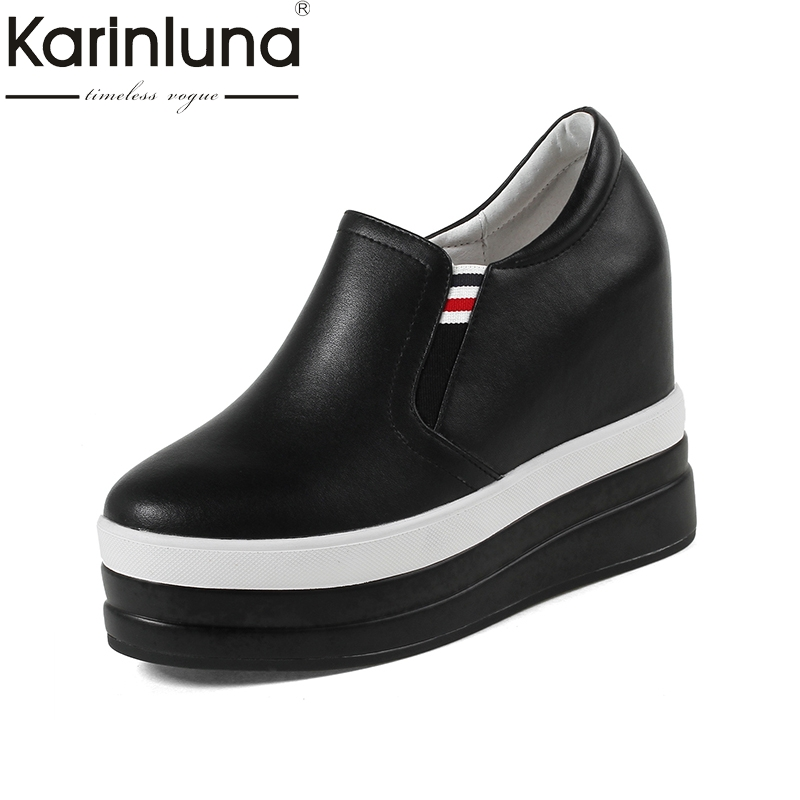 KarinLuna 2018 large size 32-40 genuine leather wedge high heels women pumps Woman black white elastic band woman Shoes black leather look skater skirt with elastic band